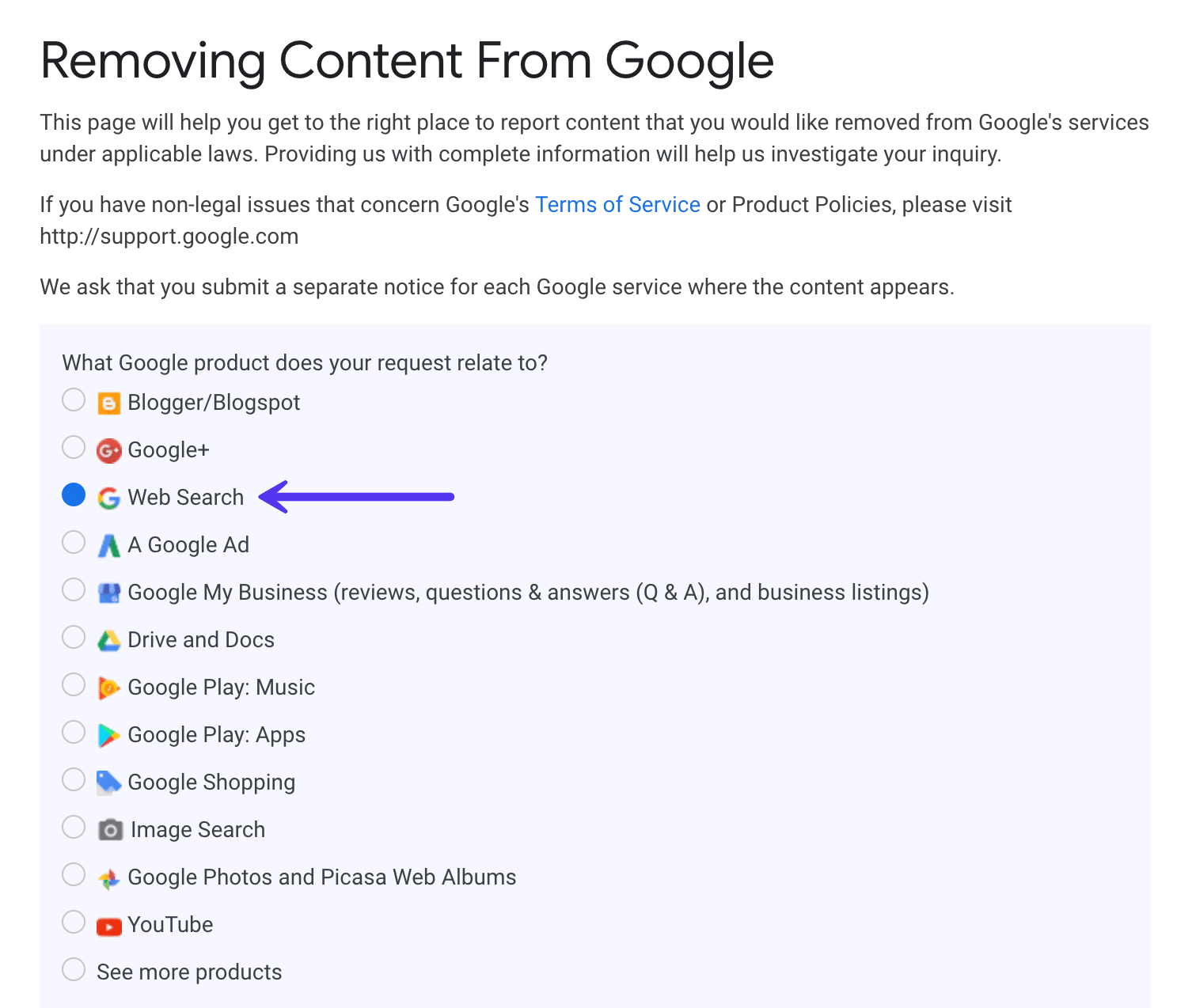 Remove content from Google search