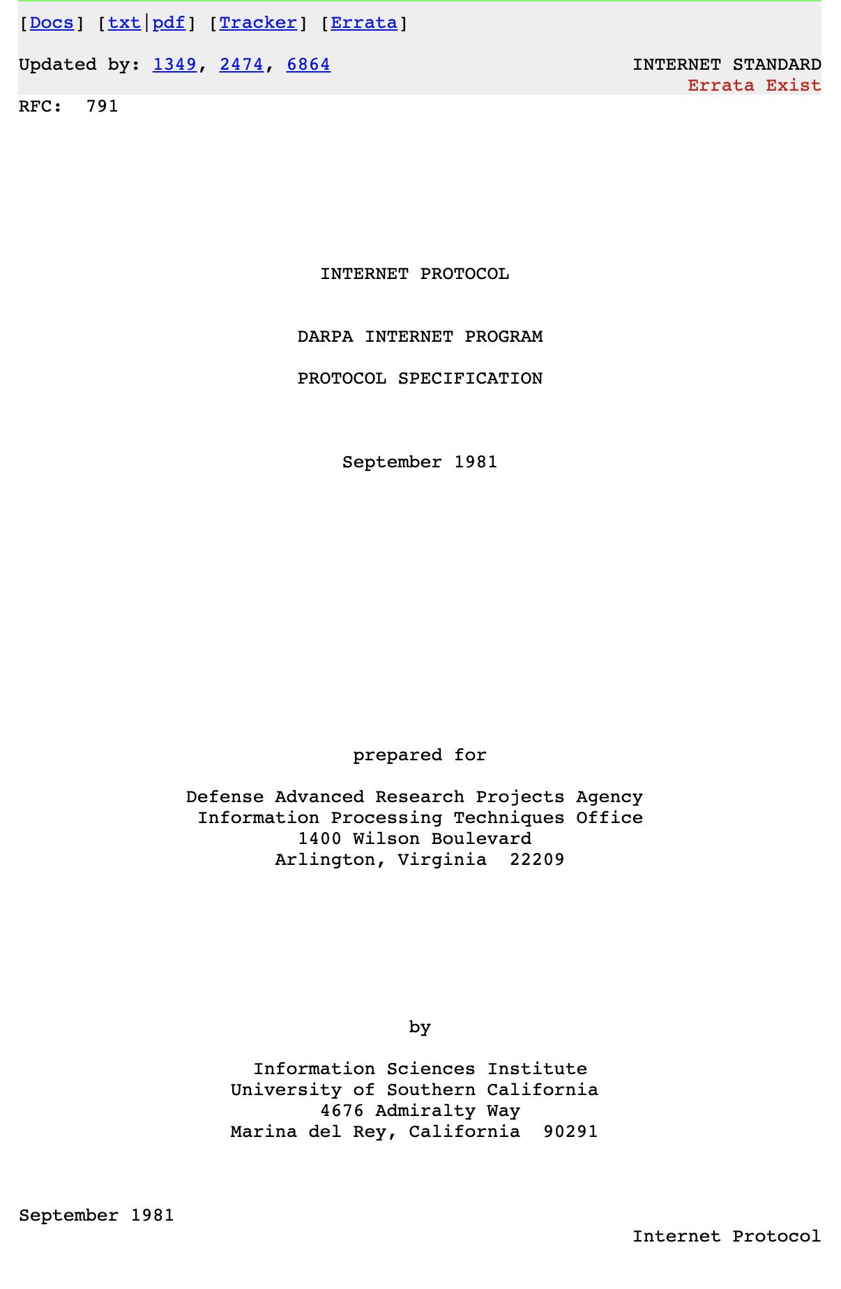 Internet Protocol (RFC791)